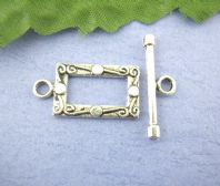 8 Antique Silver Rectangle Patterned Toggle Clasps 12 x 23 mm